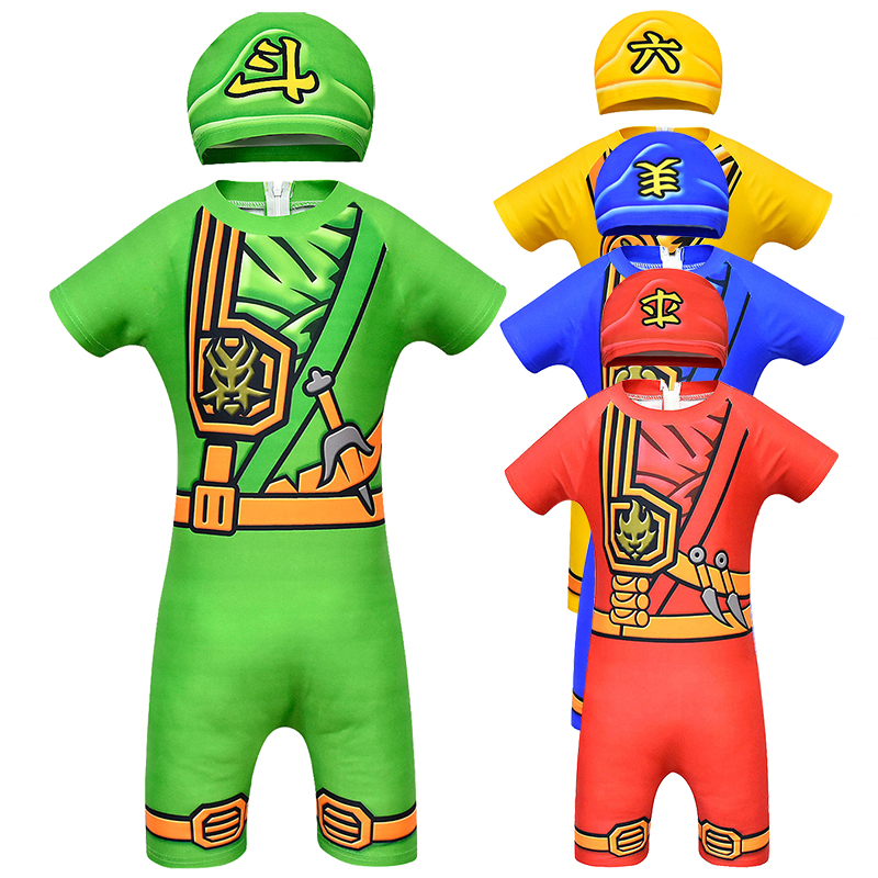 Ninjago Cosplay Costumes Boy Swimsuit Costume Kids Ninja Costume Superhero Swimming Suit For Boy Halloween Costumes for Kids Set