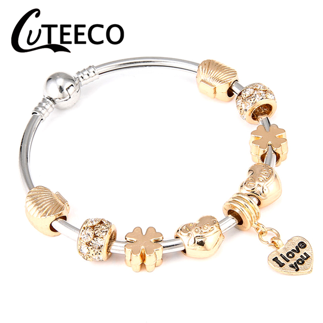 Cuteeco Love Series Silver Plated Pendant Charm Bracelet Bangle Fit