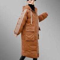 Плюс Размеры 2018 Для женщин парки новые зимние Утепленные Пальто с капюшоном теплые хлопковые длинные свободные Fit Женский стеганая куртка