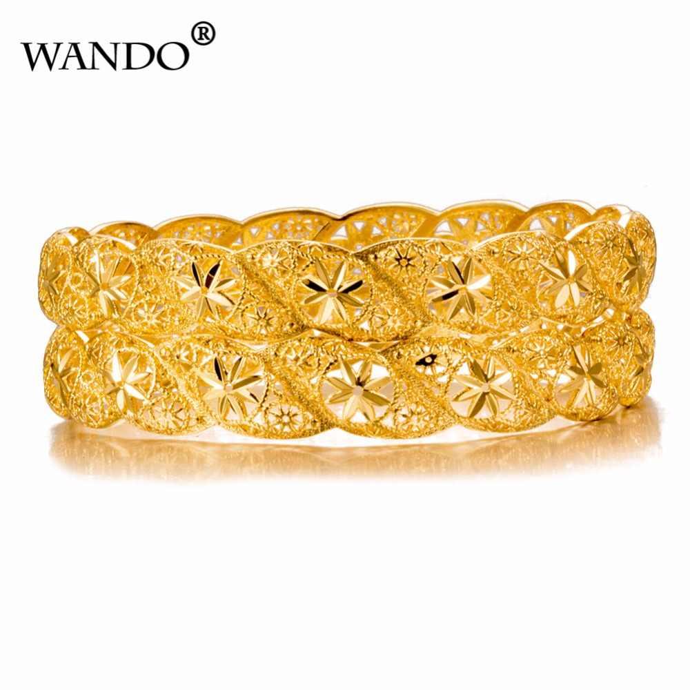 WANDO 1pcs נשים פרח זהב צבע צמידי חתונה מסיבת דובאי זהב תכשיטי האתיופית אביזרי B12