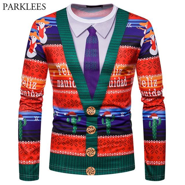 24422f9e355 Fake Cardigan Sweater T Shirt Men Women Christmas 3D Print T-shirts Long Sleeve  Tee Shirt Homme Casual Slim Fit Camisetas Tops