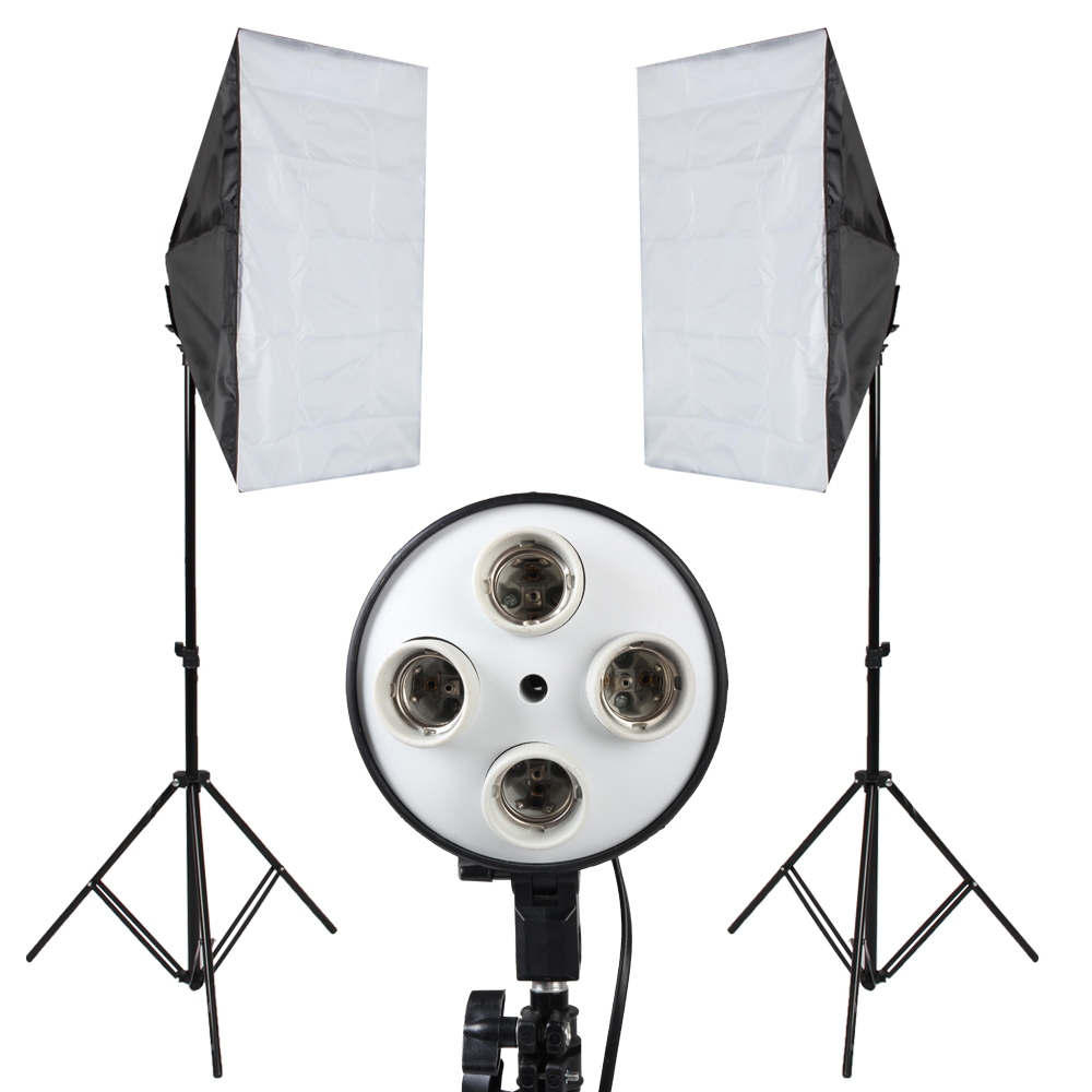 Backdrop Kit Photography SoftBox Lighting 4 Lamp Holder Softbox Light Stand Reflective Umbrella Background Cloth In Photographic