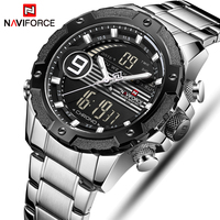 NAVIFORCE Men Analog Quartz Watches Mens Digital Dual Display Watch Fashion Casual Sports Wrist Watch Male Stainless Steel Clock
