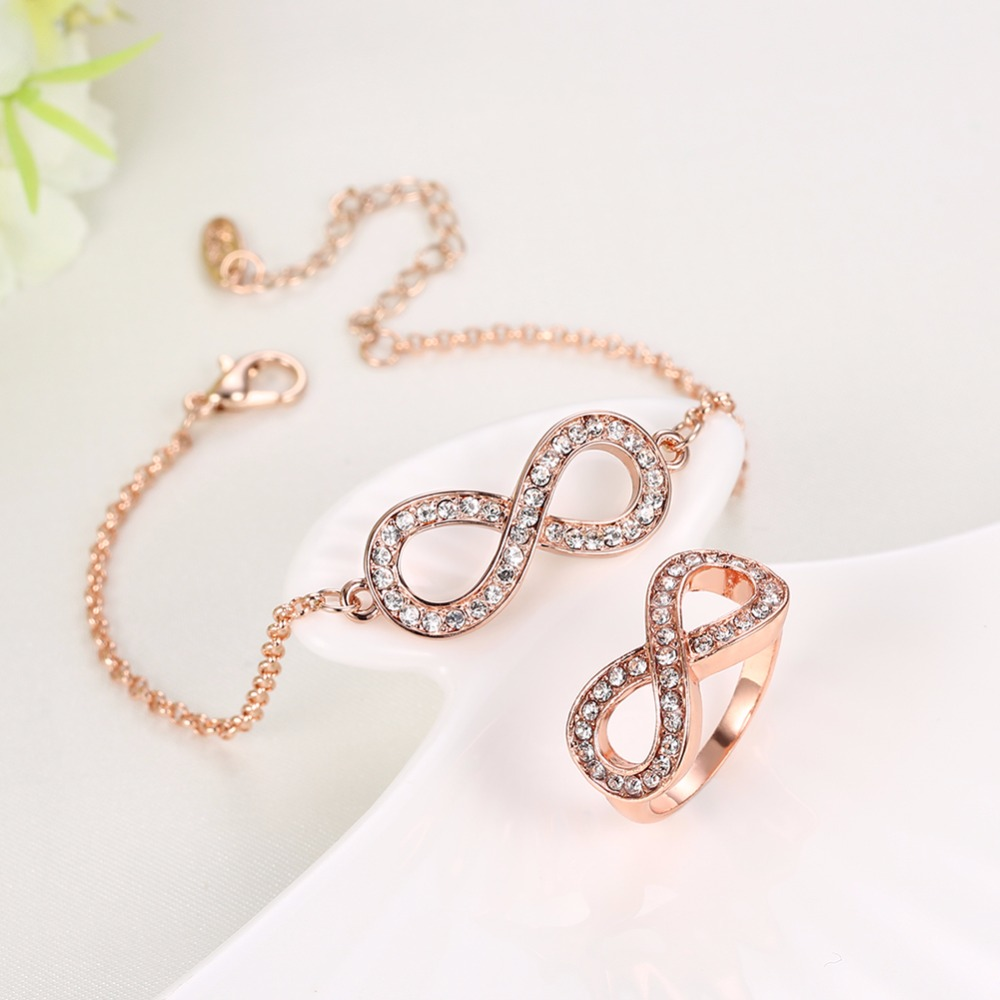 Micro Clear CZ Paved Figure Lucky Numbers 8 Infinity Sign Bracelet ring set rose gold colour Lobster Clasp Eternity Jewelry