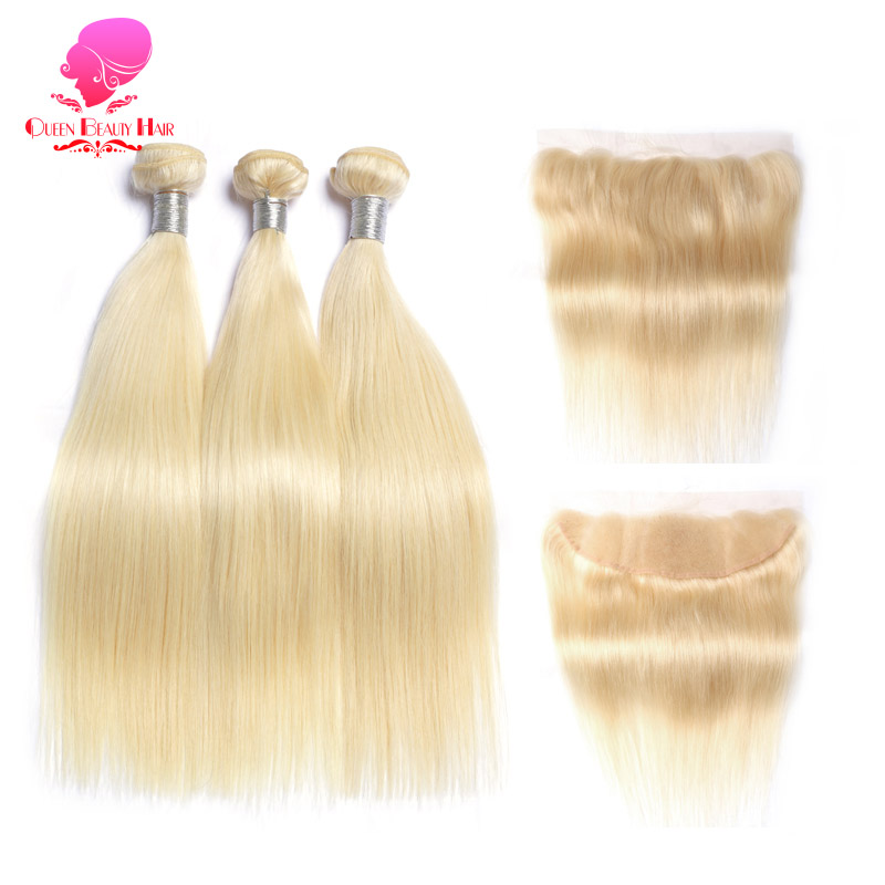 QUEEN BEAUTY 613 Blonde Straight Brazilian Hair Weave Human Hair Bundles with Closure 3PC Remy Hair and 1PC Lace Frontal Closure-in 3/4 Bundles with Closure from Hair Extensions & Wigs    2