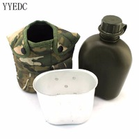 U S Army Water Bottle Aluminum Cooking Cup US Camouflage Military Canteen Camping Hiking Survival Kettle