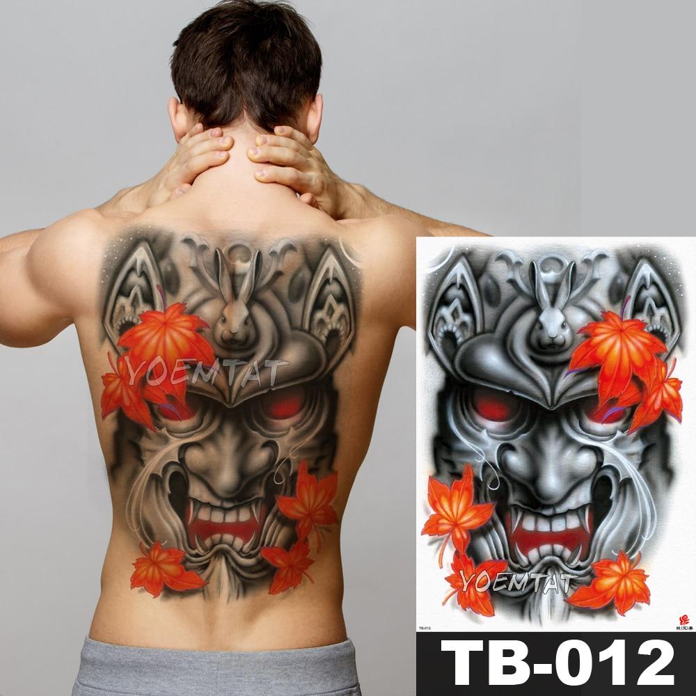 1 Sheet Big Large Full Back Chest Tattoo Sticker Orange Maple Leaf Rabbit Devil Body Art Temporary Waterproof for Women Men