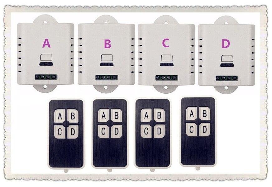 2016 nouvelle AC 85 v 110 v 120 v 220 v sans fil commutateur de commande à distance avec bouton manuel 4 pièces récepteur + 4 pièces transmetteur maison intelligente