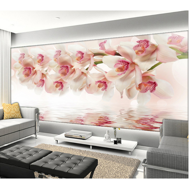 New 3D Orchid Flowers Wall Paper Home Decor Living Room Natural Art Wallpaper Mural Best Gift