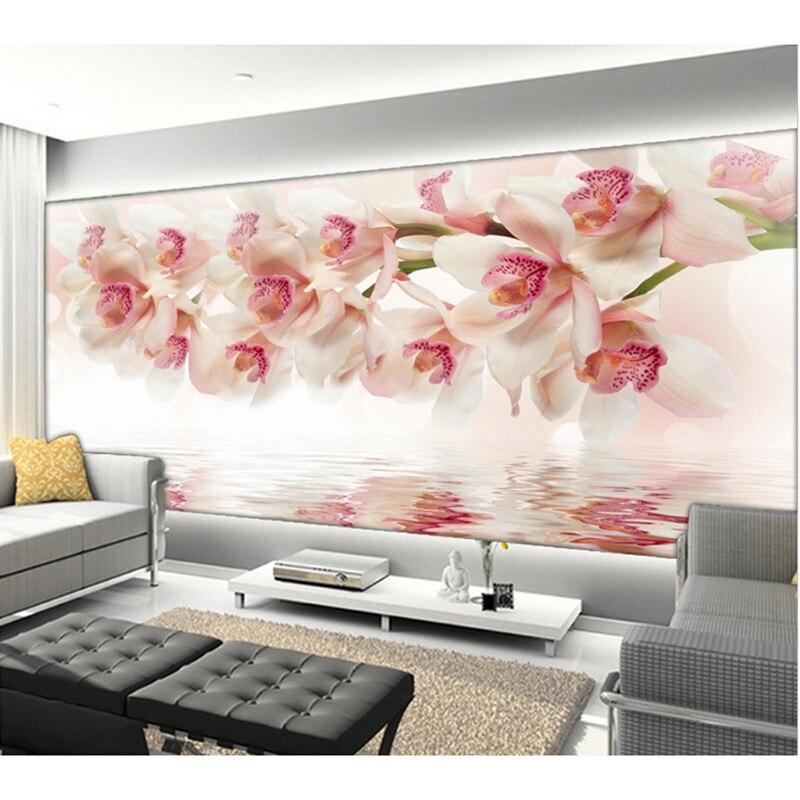 Popular orchid flower wallpaper buy cheap orchid flower wallpaper lots from china orchid flower for Flower wallpaper for living room