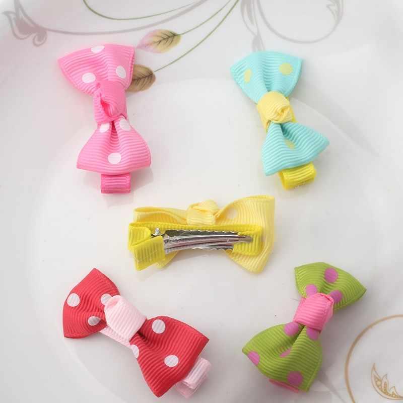 ש MISM 1 PC צבעוני דוט Bow סיכות שיער קישוטי חמוד Bow-קשר נסיכת סרט קשת שיער קליפ ילדים שיער אביזרים