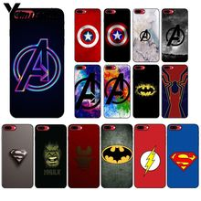 Yinuoda Marvel Superheroes Logo TPU black Phone Case Cover Shell for Apple iPhone 8 7 6 6S Plus X XS MAX 5 5S SE XR