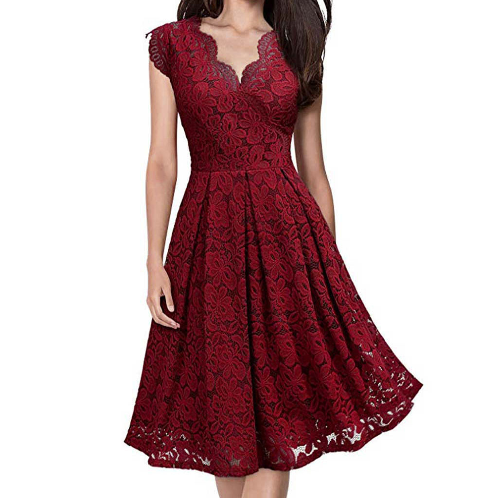 Summer Women Party Dress Vintage Red Lace V Neck Runway Dress Elegant Ladies Dresses Summer Clothes For Women