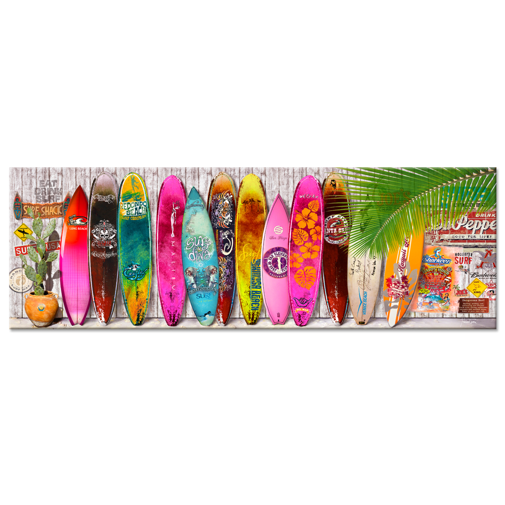 Large Summer Surfboard Canvas Wall Art Hawaii Tropical Picture Print On Canvas Wall Hanging  For Modern Home Bedroom Decoration