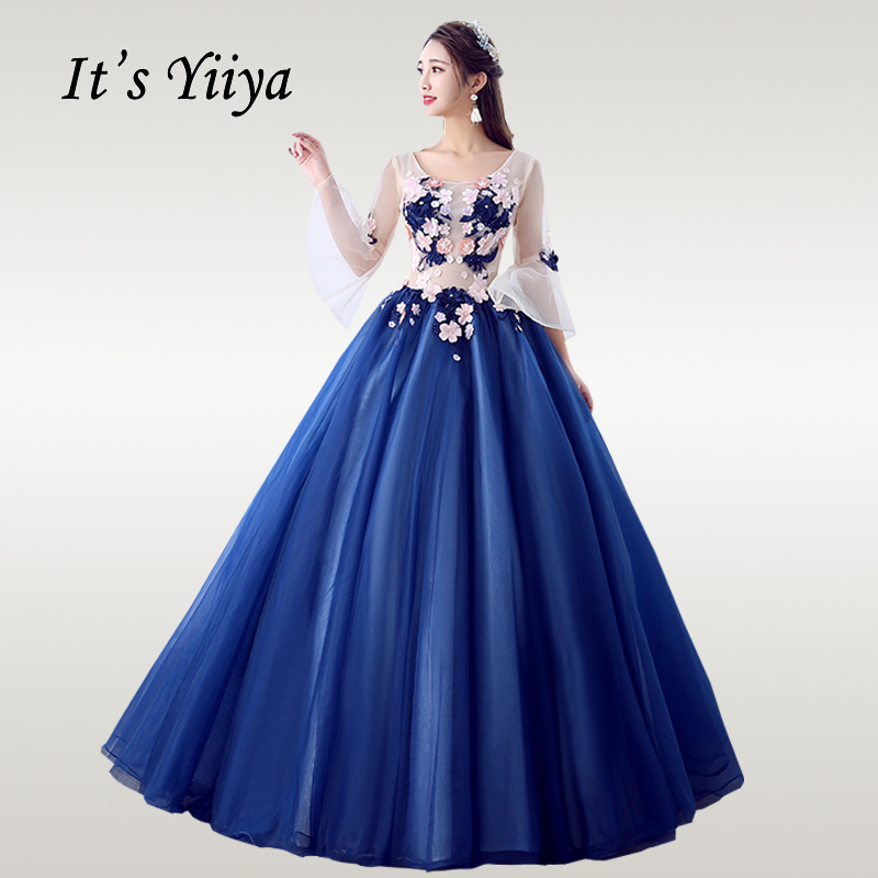It's YiiYa Wedding Dress 2019 Appliques Embroidery Navy Blue Wedding Dress Elegant O-neck Floor Length Vestido De Novia CH012
