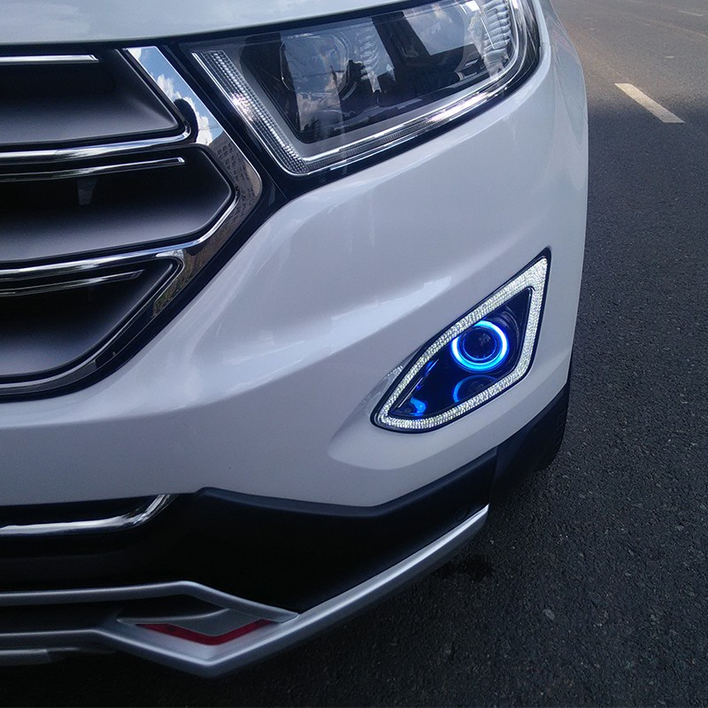 eOsuns Innovative COB Angel eye + LED daytime running light  DRL + halogen Fog Lamp with Projector Lens for ford edge 2015