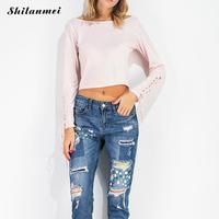 여성 셔츠 긴 소매 숙녀 탑 여름 2017 캐주얼 레이스 업 디자인 솔리드 블랙 핑크 슬림 맞는 짧은 blusa 팜므