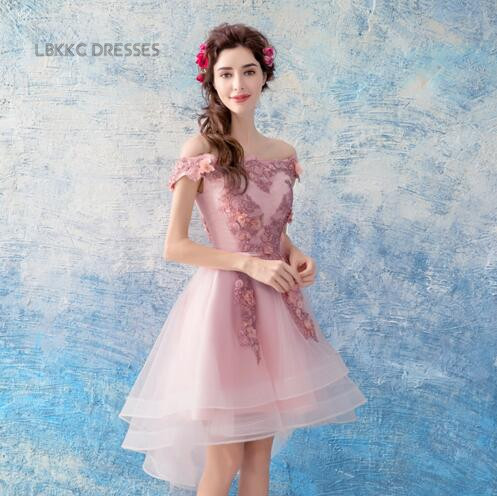 Nude Pink Homecoming Dresses Front Short Back Long Fomral Part Gown Short Graduation Dresses Vertidos Formatura