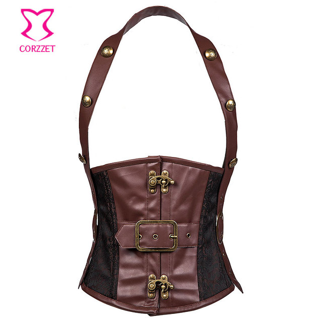 Brown Faux Leather And Brocade Steampunk Gothic Mens Trainers 2016 Body Shaper Slimming Corset For Men Sexy Bodysuit Man Colete