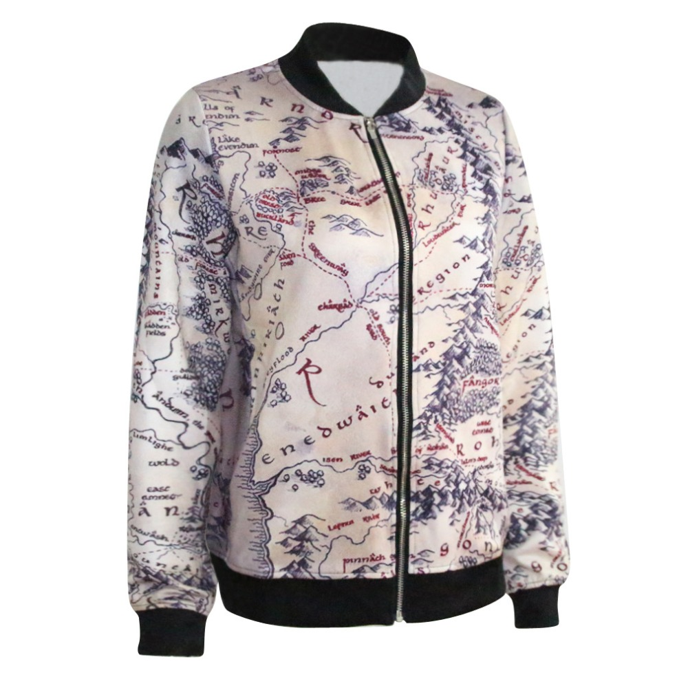 Fashion Lord of The Rings Jacket Middle Earth Map Punk Women Jacket ...