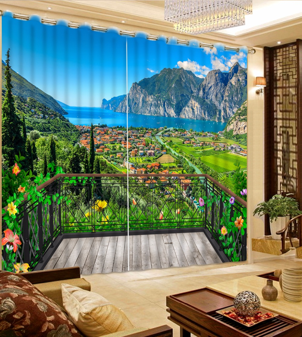 Window Curtain Living Room Photo Customize Size 3D Balcony Country Scenery Curtains Blue Blackout Shade Window Curtains