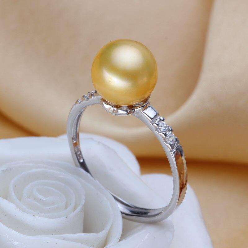 Femmes cadeau mot 925 en argent Sterling réel [belle] perle d'eau douce bague ronde en or 925 argent style princesse