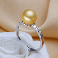 Women Gift word 925 Sterling silver real [beautiful] freshwater pearl pearl ring round GOLD 925 Silver Princess style