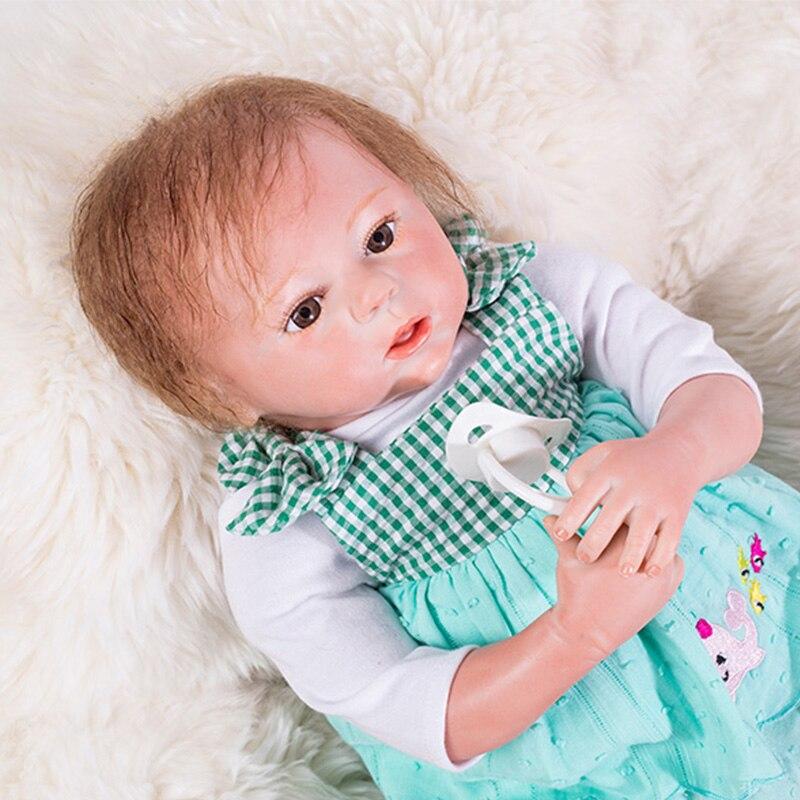 46 Cm Reborn Pop Met Leuke Blauwe Rok Magnetische Fopspeen Levensechte Simulatie Baby-reborn Pop Speciale Gift Voor Baby Meisje Gemakkelijk Te Repareren