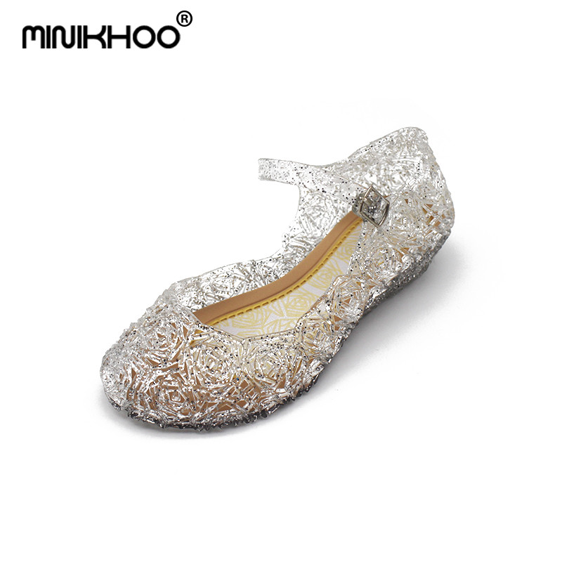 Mini Melissa Snow Princess Crystal Sandals 2018 New Mini Melissa Jelly Sandals Breathable Melissa Baby Beach Sandals Shoes