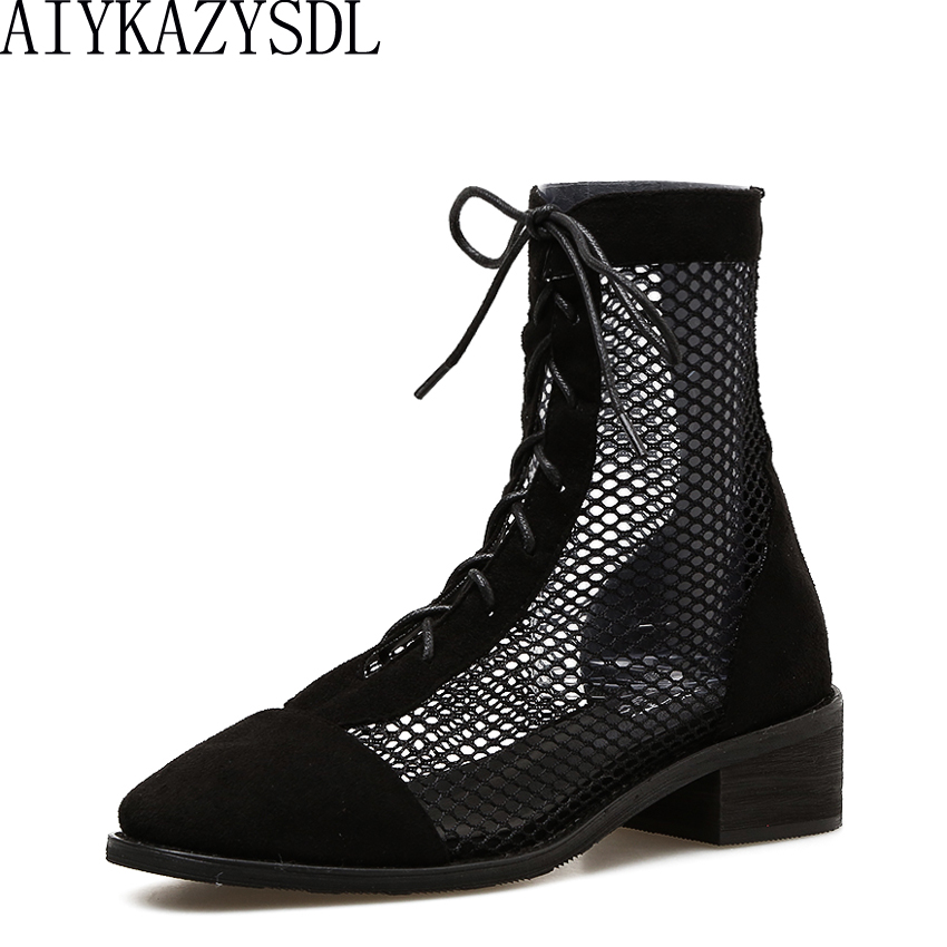 AIYKAZYSDL 2018 Cool Summer Ankle Boots Women Spliced Mesh Hollow Cut Out Breathable Bootie Gladiator Roman Shoes Cuban Heels cut out mesh sheer slip babydoll