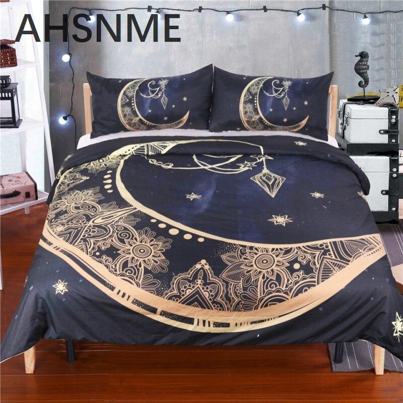 AHSNME Hot 3D New luxury stars moon bronzing design 3Pcs America bedding set king sizeAHSNME Hot 3D New luxury stars moon bronzing design 3Pcs America bedding set king size