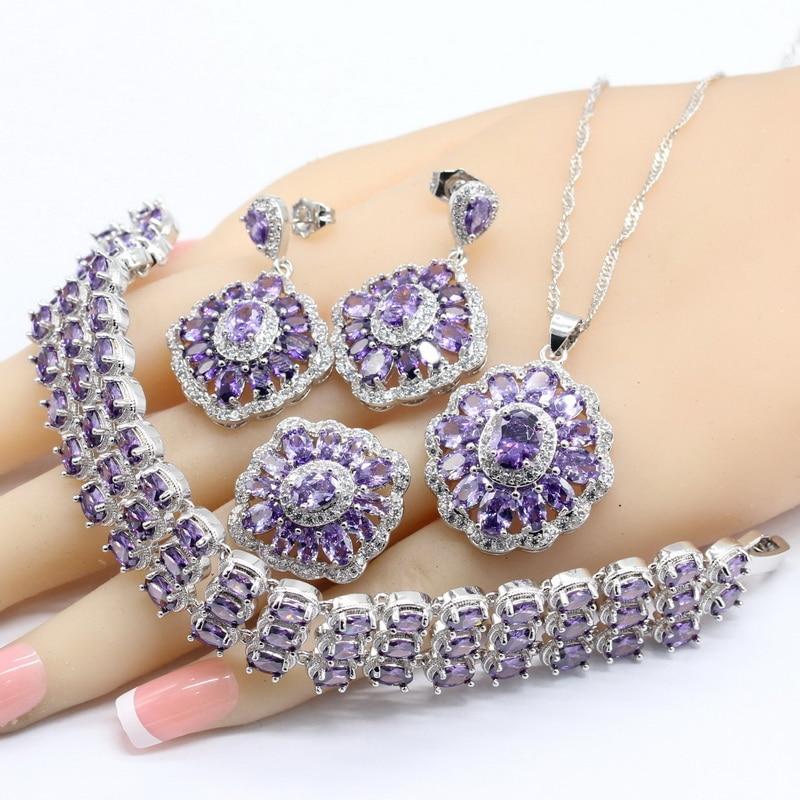 WPAITKYS Purple CZ 925 Silver Color Jewelry Sets Necklace Pendant Bracelets Drop Earrings Rings Gift Box