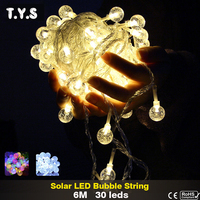 Crystal Ball LED String Lights Globe Bulbs Solar Panels Waterproof Outdoor Lighting String Fairy Light Garden