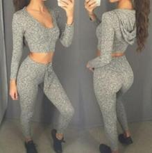 New Loose Hooded Long sleeve Solid Tracksuit Women s Sets Sport Suit Sweatshirt And Pant 2