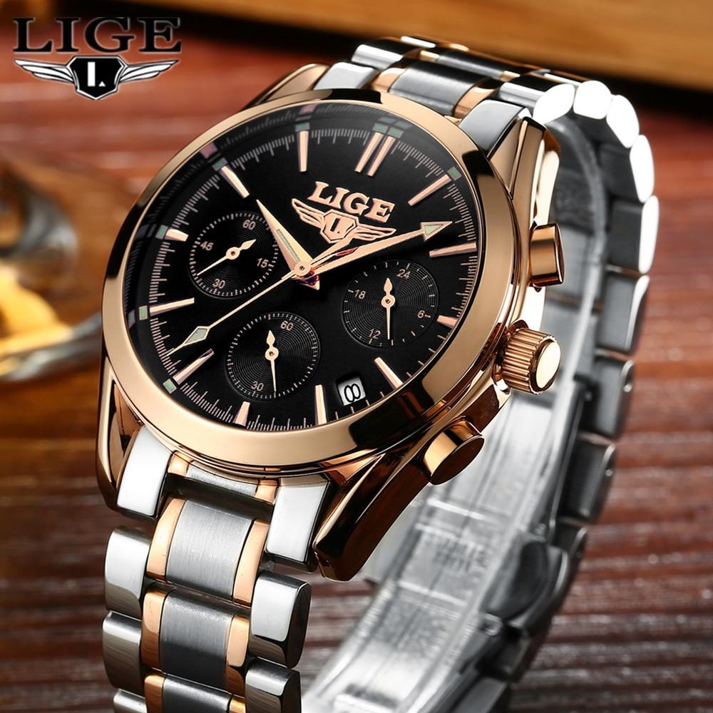 LIGE Mens Watches Top Brand Luxury Full Steel Clock Sport Quartz Watch Men Casual Business Waterproof Watch Relogio Masculino дефлектор капота mitsubishi капота pajero sport 2008 серия art графит