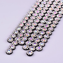 JUNAO 1 40cm Crystal Chain Flower AB Rhinestones Applique Trim Sew Glass  Crystals Band Bridal Strass Tape for Clothes Crafts d046a709434d