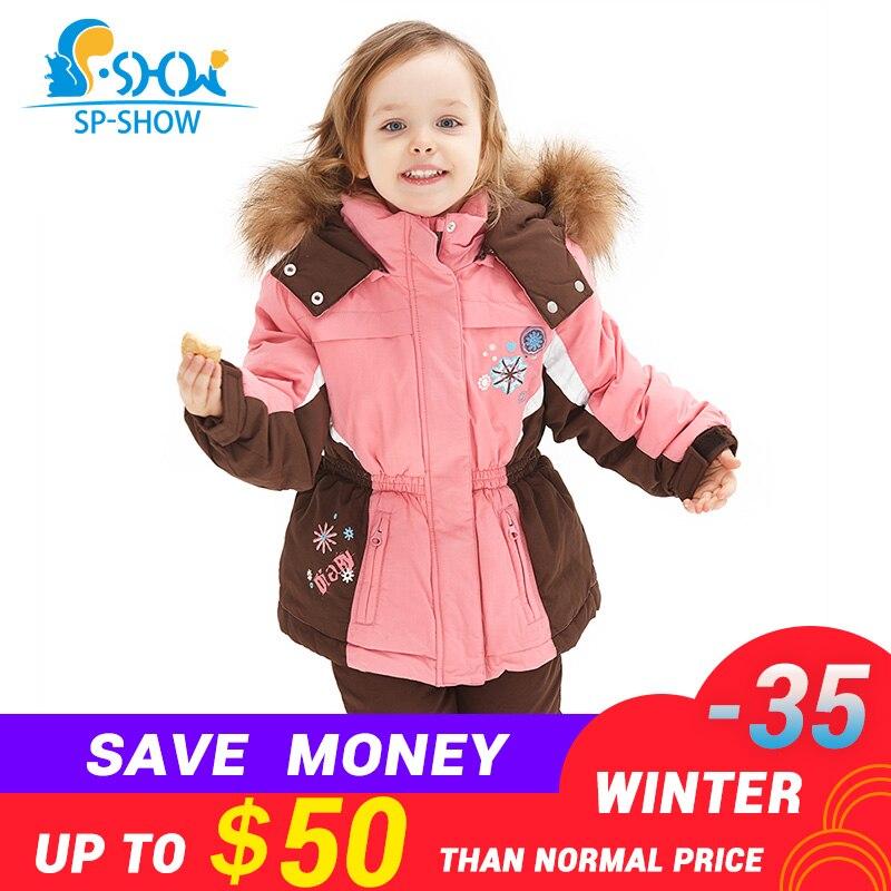 SP SHOW роскошные брендовые зимние детские комплекты одежды для девочек костюм с капюшоном из двух предметов с высоким воротничком на замке на...