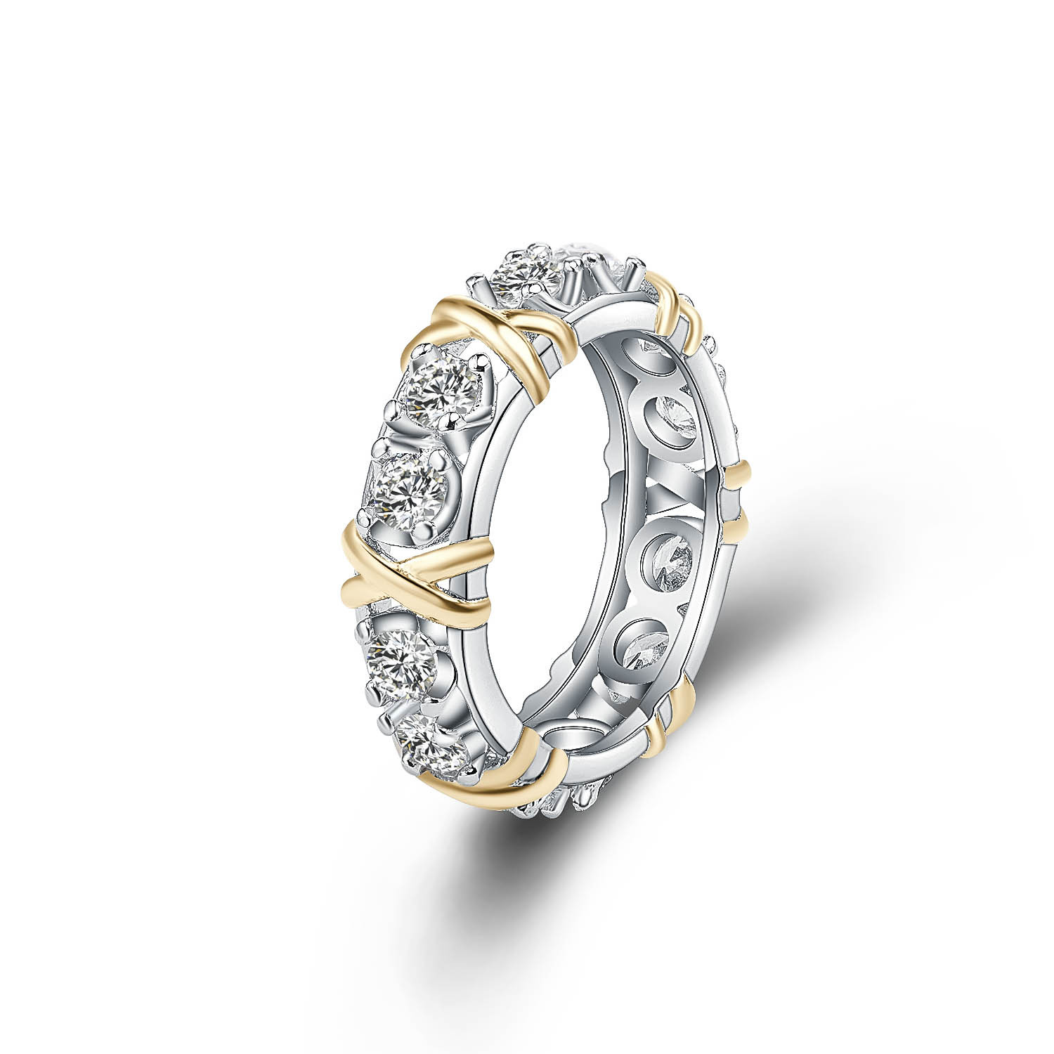 Cubic Zirconia Gold Ring In Shape Of Cross