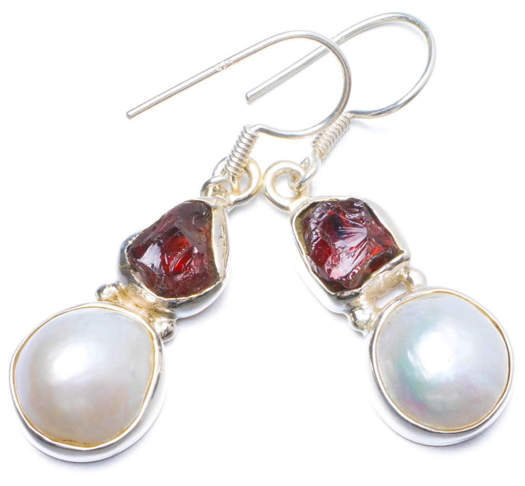 StarGems(tm) Natural River Pearl and Crystal Handmade Unique 925 Sterling Silver Earrings 1.5 Y0184