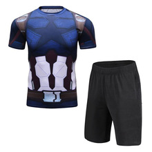 Summer Hot Mens Sets Captain America T Shirts+Shorts Two Pieces Casual Tracksuit Male Tshirt Gyms Fitness Shorts