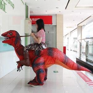 Image 3 - 大人の恐竜T REXインフレータブル衣装クリスマスコスプレに恐竜動物ジャンプスーツハロウィーンの衣装男性