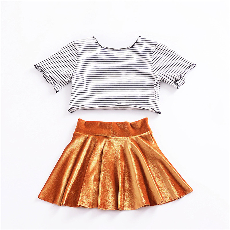 2018 NEW Summer  Fashion Toddler Kids Baby Girls Outfit Clothes Stripe Print T-Shirt Tops+Skirt Set  Children Clothing P5
