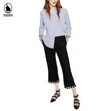 2016 Hot Selling Women's Summer Autumn Black Trouser Fashion Plus measurement Tassel Loose Casual Sporty Wide Leg Capris For Female