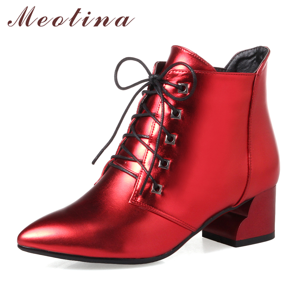 Meotina Women Ankle Boots Low Heels Female Short Boots Lace Up Autumn Women Shoes Large Size 33-43 Ladies Red Boots 2017 White meotina women ankle boots high heels wedge shoes winter boots lace up zip velvet shoes bling short boots heels large size 33 42
