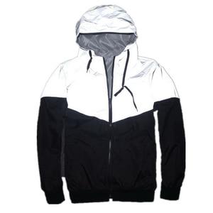 Image 1 - Uplzcoo full reflective jacket men/women harajuku windbreaker jackets hooded hip hop streetwear night shiny zipper coats JA244