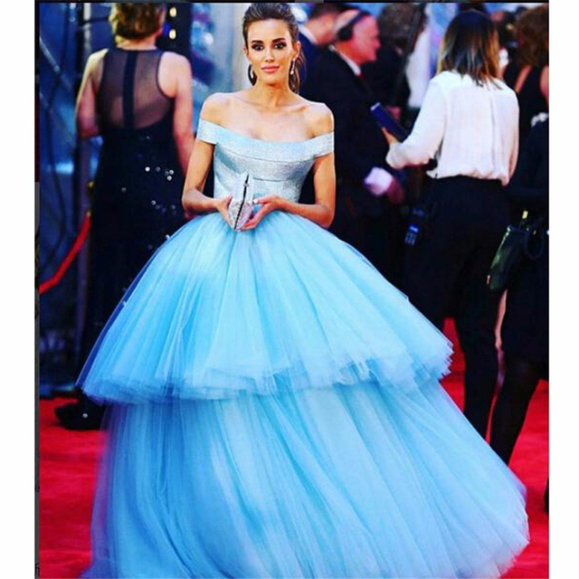 3314625655c7 Off Shoulder Light Blue Prom Gown Tiered Ruffles Party Formals Red Carpet  Dress