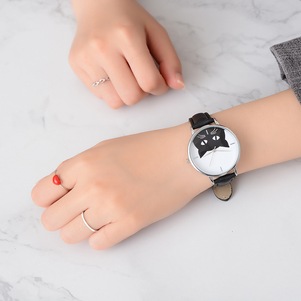 Women's Black Cat Face Quartz Leather Band Wrist Watch