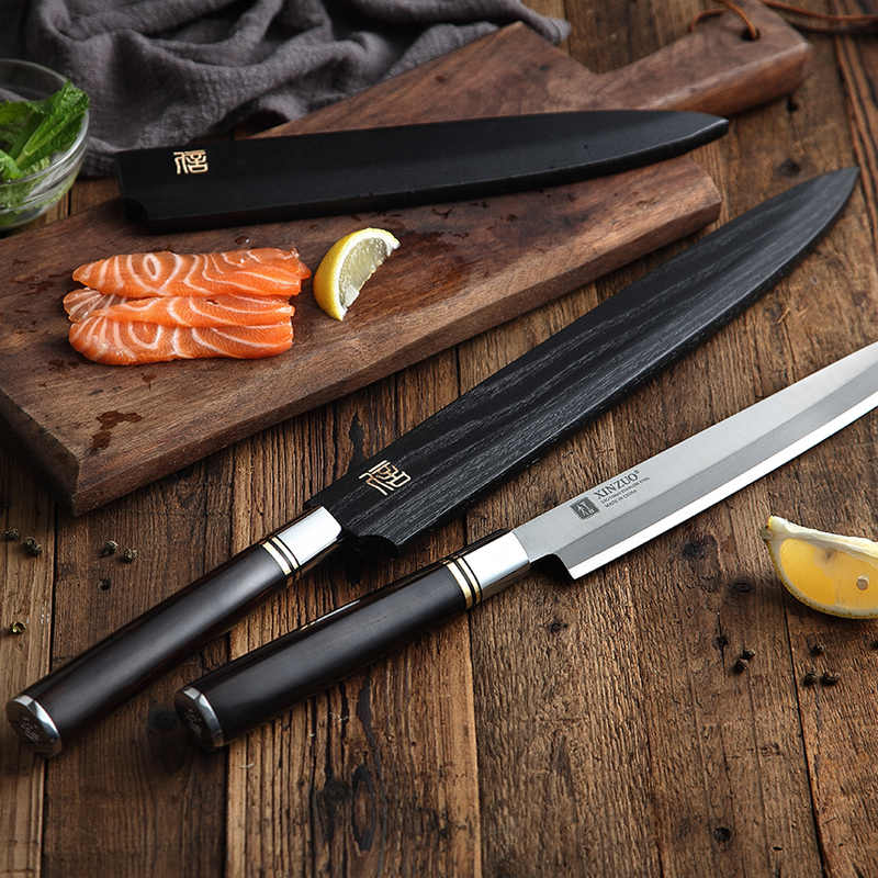 XINZUO 240/270/300mm nóż filetujący z pochwą X5Cr15MoV stalowe noże kuchenne japoński Sashimi Sushi Deba nóż hebanowy uchwyt