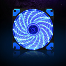 120mm PC Computer 16dB Ultra Silent 15 LEDs Case Fan Heatsink Cooler Cooling w/ Anti-Vibration Rubber,12CM Fan,12VDC 3P IDE 4pin