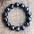 Atacado Big 16mm Genuine Azul Olhos de Tigre Pedra Natural Pulseiras Para As Mulheres Homens Estiramento Contas Redondas Pulseira Livre grátis